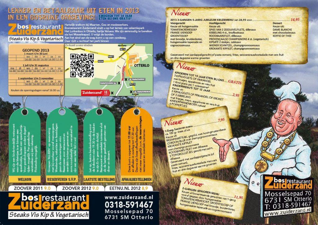 menu kaart voor restaurant in Otterlo
